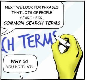 Cartoon image explaining SEO
